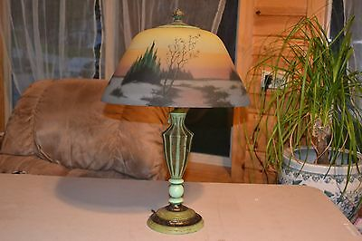 Signed Jefferson Reverse painted table lamp
