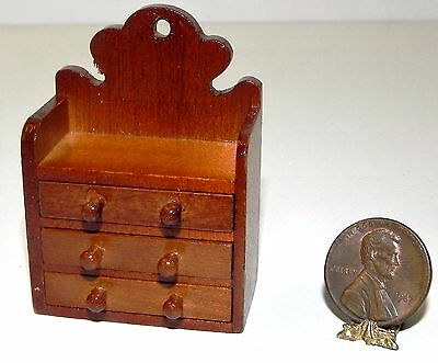 Dollhouse Miniature Wall Shelf with Drawers Wood Kitchen Reutter Minis 1:12