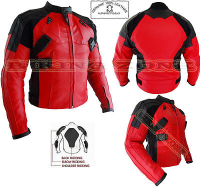 Deadpool Style Mens Red Ce Armour Motorbike / Motorcycle Leather Jacket