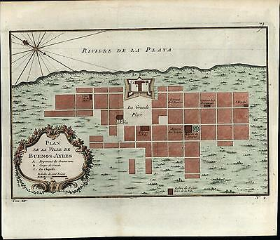 Buenos Aires Argentina Grand Palace La Plata 1757 Bonne old antique color map