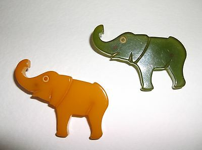 Vintage Bakelite Pin Brooch Elephant Yellow and Green 1940's 50's