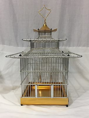 Vintage Pagoda Style Hanging Wire Bird Cage Made In Spain