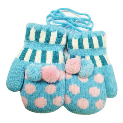 Blue Polka Dot Mittens Baby Mittens on String 6m -3years