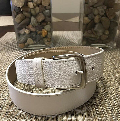 NWT TALBOTS White Genuine Leather Belt Sz S Textured Silver Buckle made in ITALY