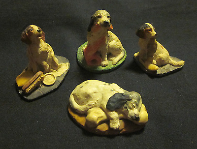 Four vintage dogs mini-hand-painted resin figurines Aynsley England Mastercraft