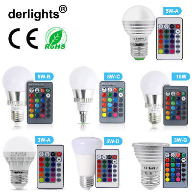 3W 5W 10W RGB LED Bulb E27/E14 Lamp Light 16 Colors Changing Wireless Remote