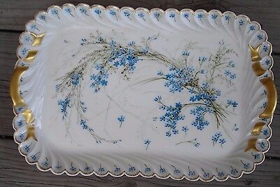 Vintage Floral Platter, Signed, White W/blue Hand Painted In 1891