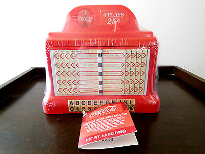 Coca Cola Coke Juke Box Bank Treasure Box Tin & Plastic SEALED WITH TAG - NEW