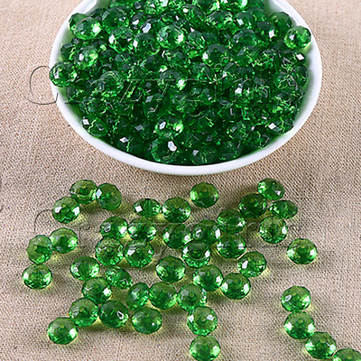 50pcs 10mm Acrylic Round Faceted Green Plastic Spacer Beads Bracelet Jewelry J