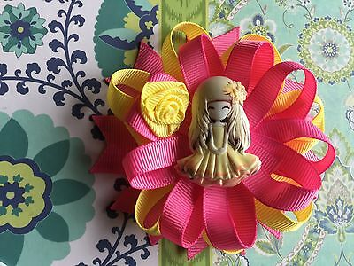 New Pink & Yellow Girl Princess  Loopy Loop Round  Hair Bow 1pc