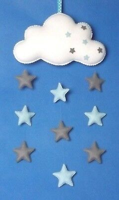 Handmade felt baby mobile, Cloud with Blue & Grey stars, nursery decor baby gift