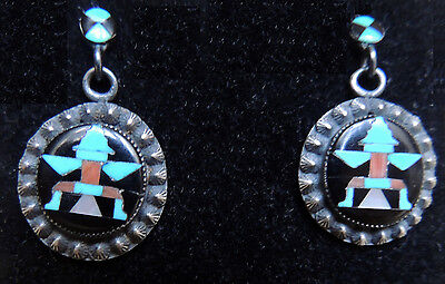 Zuni John Leekity (John Gordon Leak) Dangle Earrings CG Wallace Knifewing Inlay