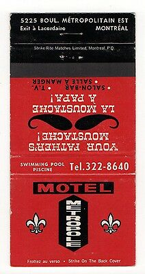 Motel Metropole Father's Moustache Montreal Canada, Vtg Matchbook Cover Jan16