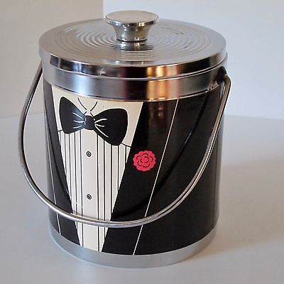 Black & Chrome Tuxedo Ice BucketHandle & Insulated Liner, Japan c.1970s