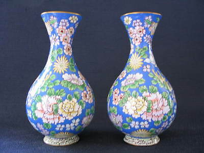 Antique Chinese Enamel on bronzed copper pair of bottle vases.