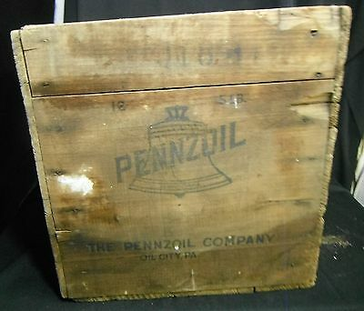 Vintage PENNZOIL Box The Pennzoil Company Oil City, PA Handmade Wooden Oil Crate