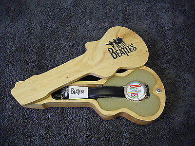 The Beatles Commemorative Watch Wooden Guitar Case Apple Corp.