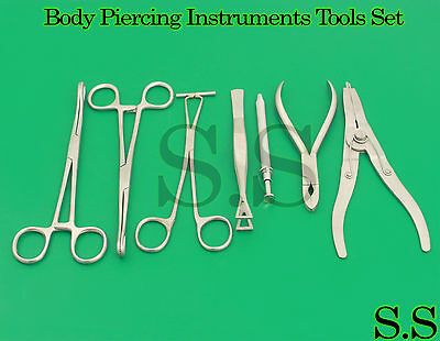 7 Body Piercing Instruments kit Tools Penington Forceps,DS-1030