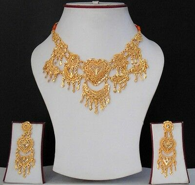 New Ethnic Indian Bollywood Designer Jewelry Necklace Set Gold Plated Fashion