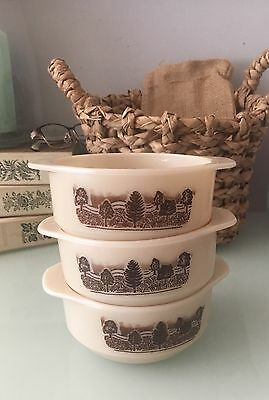Vintage JAJ Pyrex England Individual Casserole /Soup Dishes x 3 Rustic Pattern