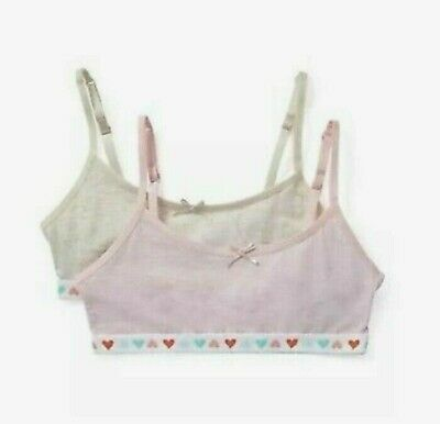 2 Pack Girls Crop Top Cotton Rich New Marks & Spencer Pink Oatmeal 9-10 11-12