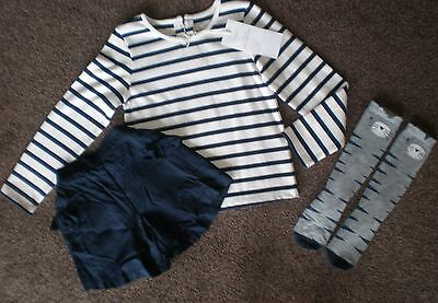 BNWOT Next 2017 ~~~~Stripe Top, Navy Shorts & Cat Knee Socks Set~~~~ 5-6 years