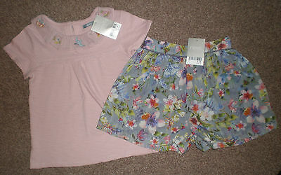 BNWT Next 2017 ~~~~Pink Embroidered Collar Top & Floral Shorts Set~~~~ 3-4 years