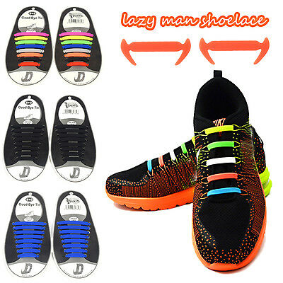 16PC Elastic Free Tying No Tie Lazy Silicone Shoelace Running Strings Shoe Laces