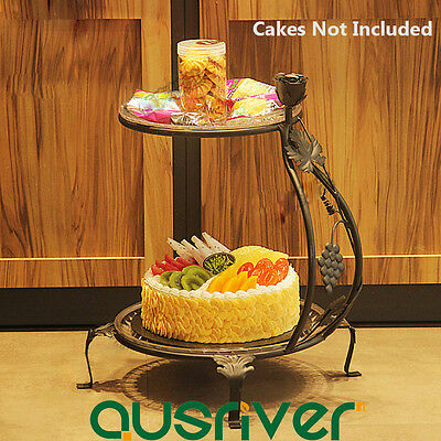 2-Tier Premium Cake Stand With Acrylic Trays Wedding Birthday Party Iron 46cm