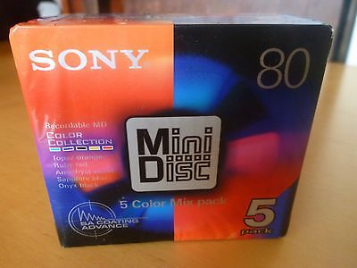 5 Sony 80-Min Color (sic) Pack MiniDisc - New & Sealed
