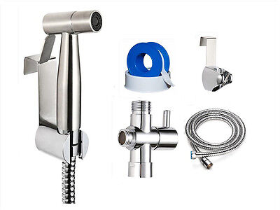 Stainless Steel Hand Held Bidet Sprayer Set with T-Adapter Valve Hose and Holder