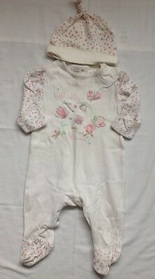 Baby girls Babygrow 0-1 month newborn mothercare set with hat