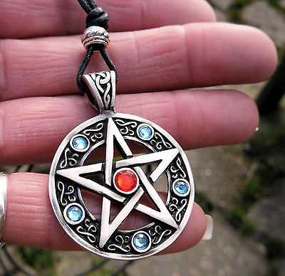 Red Silver Blue Pentacle Pendant Cord Necklace Pentagram Wicca Pagan Druid