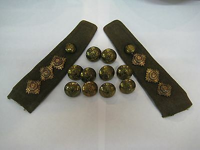 WW2 BRITISH ARMY OFFICERS SET OF EPLAULETTES ENAMEL PIPS & BUTTONS R.E.M.E c1939