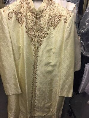 Sherwani For Mens Colour cream Gold Size Available 40