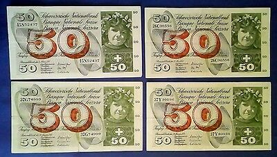 SWITZERLAND: 4 x 50 Francs Banknotes - Very Fine