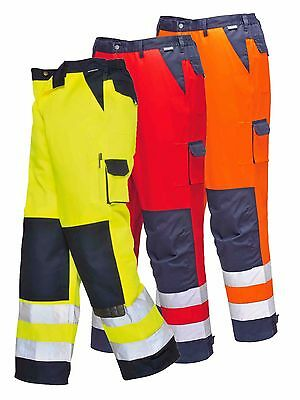 Portwest Lyon Hi Vis Trousers Contrast Polycotton Combat Work Wear TX51