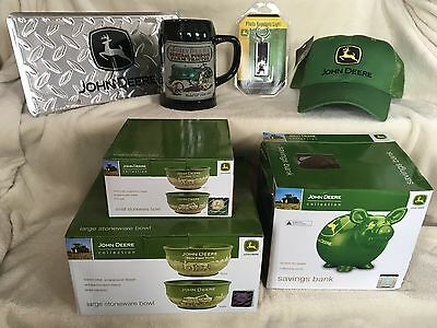 Lot of 7 JOHN DEERE New Items - Pig Bank, Bowls, Hat ....