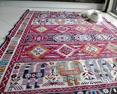Red Persian Rug 4x6.4 Feet Handwoven Silk&Wool Animal Figures Antique Kilim