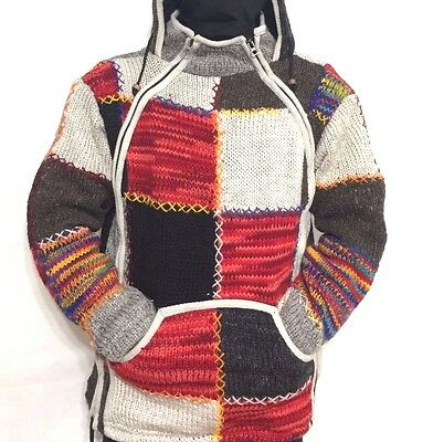Nepalese 100% Wool Polar Fleece Hoodie Hippie Patchwork Camp Himalayan Jacket