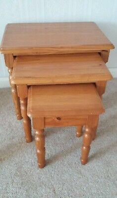 Antique pine effect nest of 3 tables - pickup only, Bexleyheath