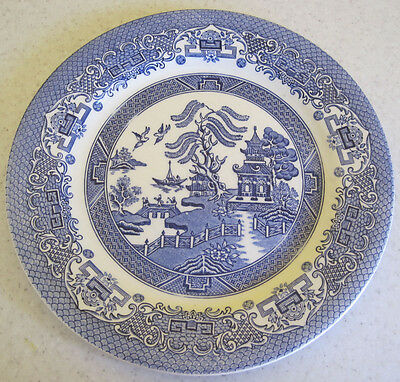 2 Willow Pattern Dinner Plates Blue And White English Ironstone Tableware