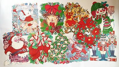 Vintage Double-sided Die Cut Flocked CHRISTMAS Decorations