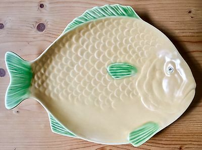 Shorter & Son Deco Large Size Cream And Green Fish Platter In Excellent Condn