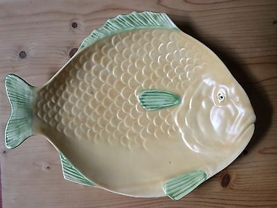 Shorter & Son Deco Large Size Cream & Green Fish Platter In Excellent Condn