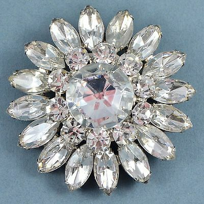 Vintage Brooch Large 1980s Clear Marquise Crystal Silvertone Bridal Jewellery
