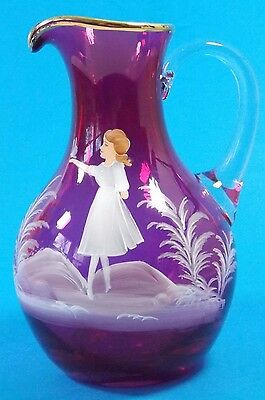 "Lovely Antique Mary Gregory Cranberry Glass Pitcher 7""  Best!"