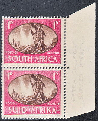 South Africa 1945 Victory 1d pair with extra barbed wire variety