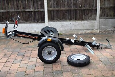 MOTOLUG - Single Motorcycle Trailer - Used 6 times (200 miles) + Spares