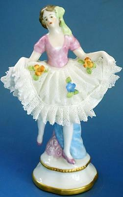 Sitzendorf Continental Porcelain Figurine Dresden Lace Dress Vintage